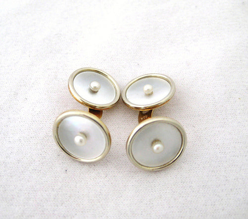 Mother of Pearl Cufflinks with Pearl Center