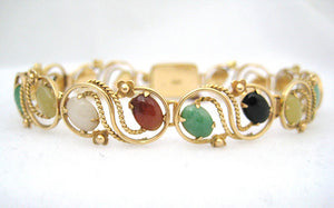 Multi Color Jade Bracelet with Scroll and Floral Frame