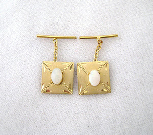 Opal and Gold Satin Finish Cufflinks