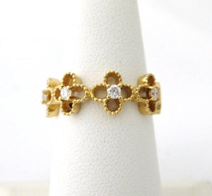 Open Flower Ring with Center Diamonds