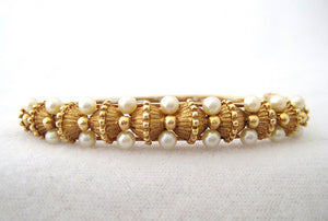 Oval Brushed Gold Bangle with Double Rows of Pearls