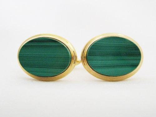 Oval Malachite Cuff Links