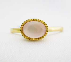 Oval Rose Quartz on Mother of Pearl Ring