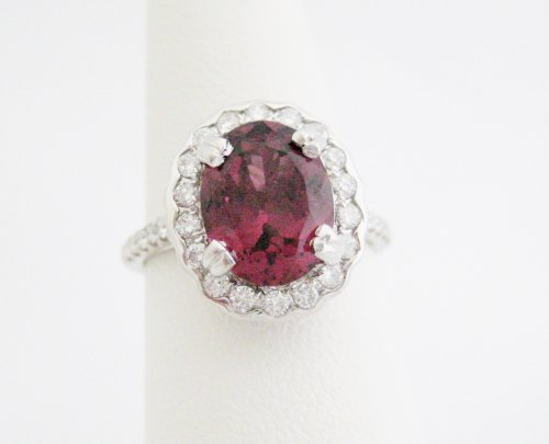 Oval Shaped 3.5 Carat Rhodolite Garnet with Diamond