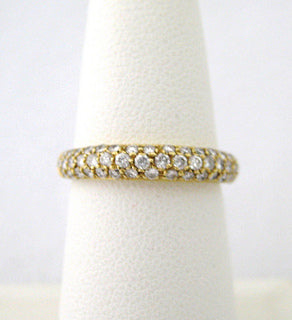 Pave Diamond Band with Three Rows of Diamonds