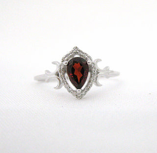 Petite Pear Shaped Garnet Ring