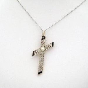 Onyx, Pearl, and Marcasite Cross Pendant