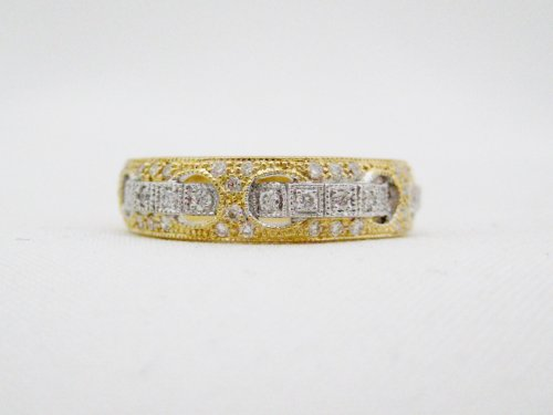 Yellow and White Gold Diamond Half Band