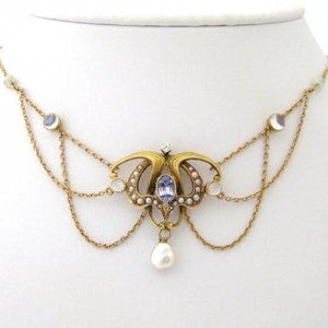 Art Nouveau Natural Sapphire with Moonstones, Seed Pearls, and Natural Pearls Festoon