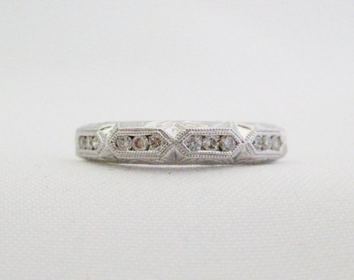 Etched Wedding Band with 3 Diamond Intervals