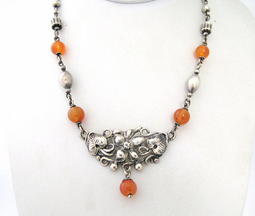 Peruzzi Sterling with Carnelian Accents Neckpiece