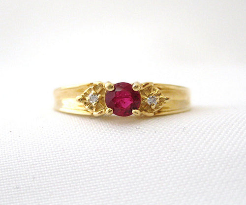 Ruby Ring with Small Side Diamonds