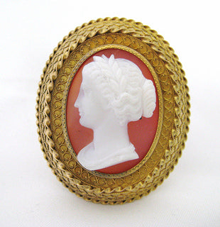 Victorian Stone Cameo in Etruscan Style