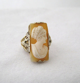 Rectangular Shaped Cameo Ring with Filigree