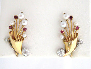 Retro Diamond, Ruby, and Pearl Earrings