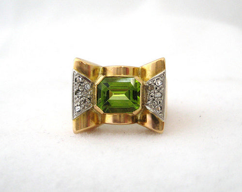 Retro Peridot and Diamond Detail Ring