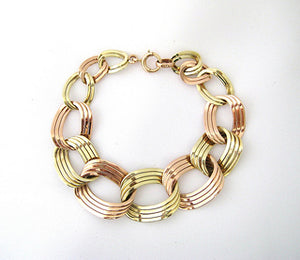 Retro Rose and Green Gold Flat Link Bracelet