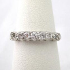 Vintage Diamond Band with 5 Diamonds Flanked by Hearts