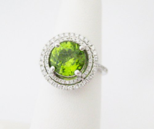 Round Peridot with Diamond Surround Ring