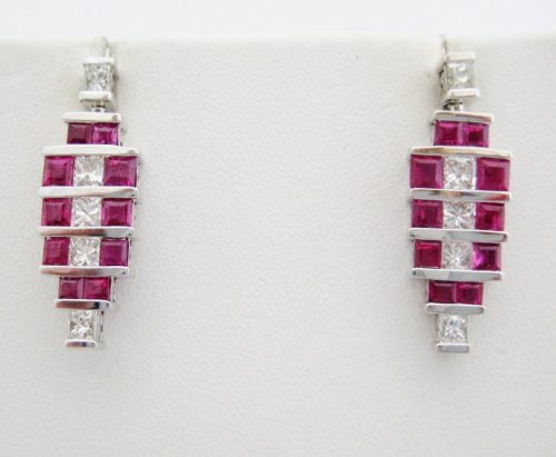 Ruby and Diamond Deco Style Earrings