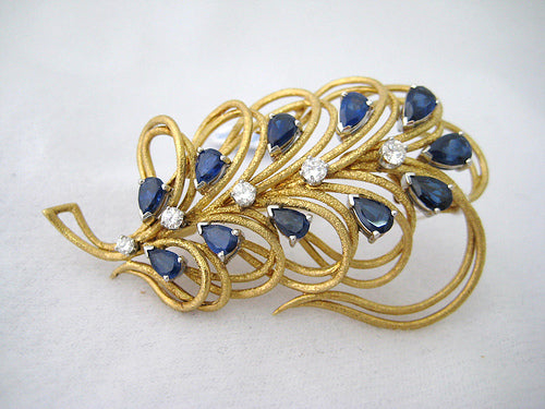 Sapphire and Diamond Spray Pin