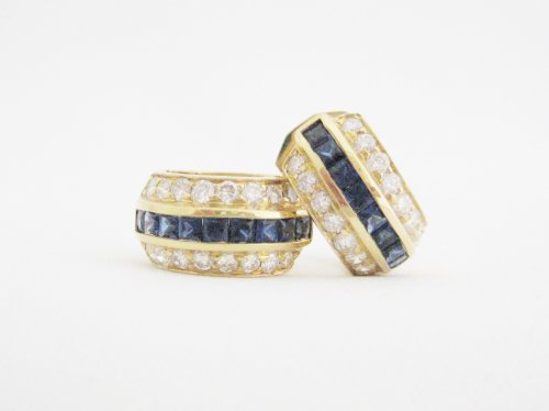 Sapphire and Diamond Hoop/Huggie Style Earrings
