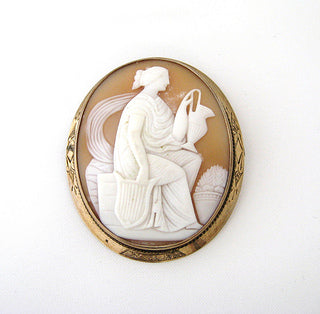 Shell Cameo Pin of Woman Holding Ewer
