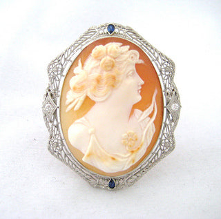 Shell Cameo Pin with Diamond and Blue Stone