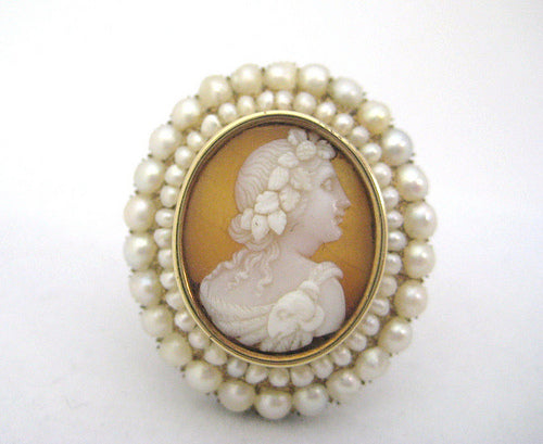 Shell Cameo with Frame of Natural Pearls