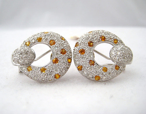 Pave Diamond and Yellow Sapphire Earrings
