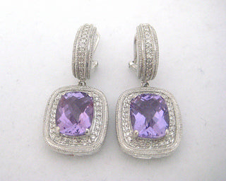 Amethyst and Diamond Drop Hoop Earrings