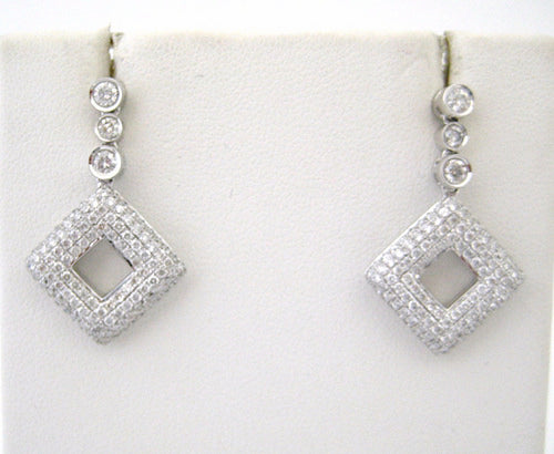 White Diamond Earrings with Bezel Set Diamonds and Pave Diamond Shaped Design Drops