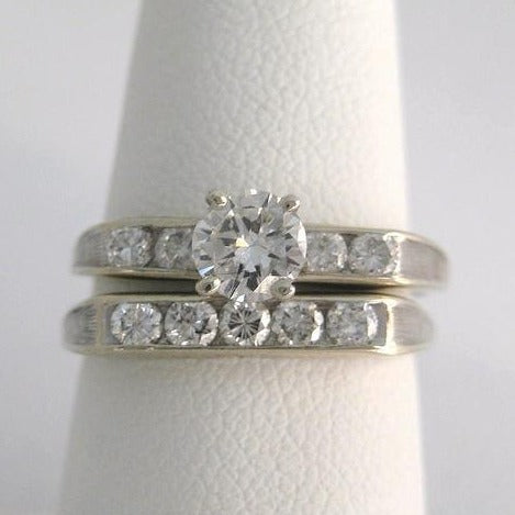 .42 ct. center Diamond Channel Set Ring with Matching Diamond Band