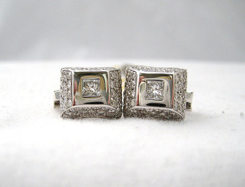 Square Center Diamond Earrings