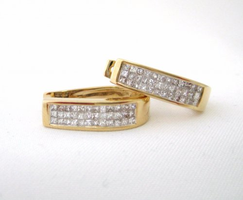 Square Hoop Huggie Pave Diamond Invisible Set Earrings