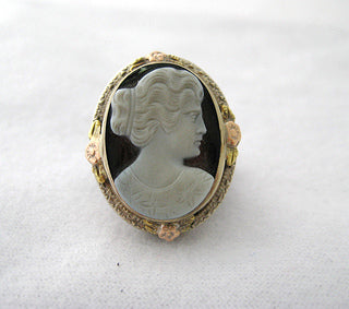Cameo Ring with Rose and Green Gold Detail