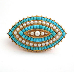 Antique Turquoise and Pearl Pin