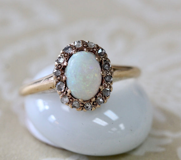 Dainty ~ Opal & Diamond Ring