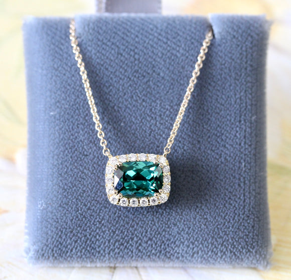 Colorful ~ Green Tourmaline & Diamond Necklace