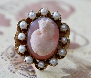 Stone Cameo Surrounded with Pearls and Blue Tracery