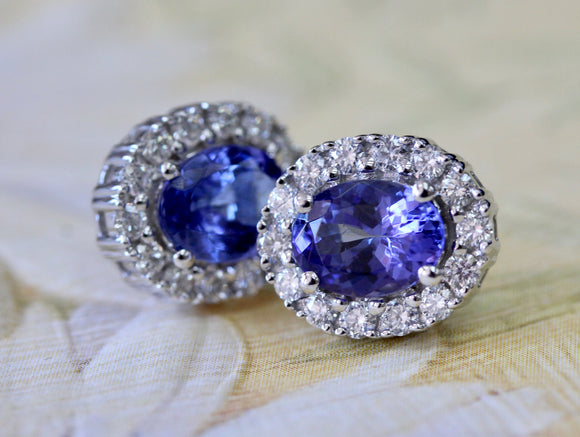 Tanzanite & Diamond Earrings ~ Sparkly