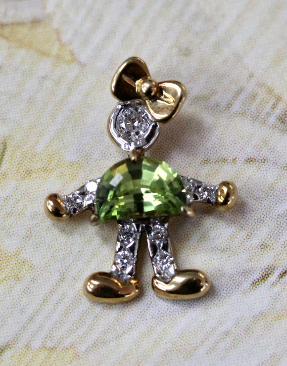 Adorable ~ Little Girl Peridot & Diamond Pendent / Charm