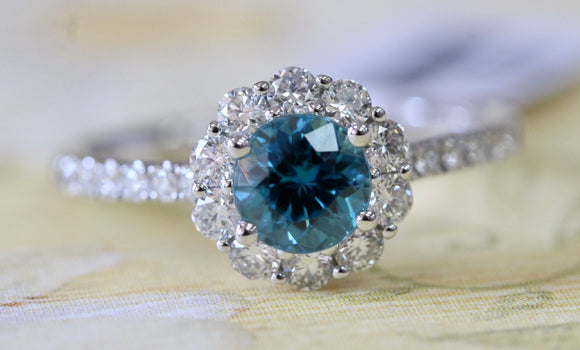 Alluring ~ Blue Zircon & Diamond Ring