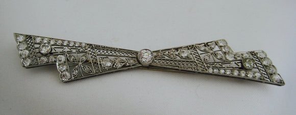 Antique Platinum and Diamond Bow Pin