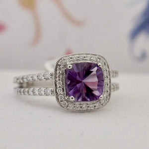 Sparkling Contemporary Amethyst & Diamond Ring