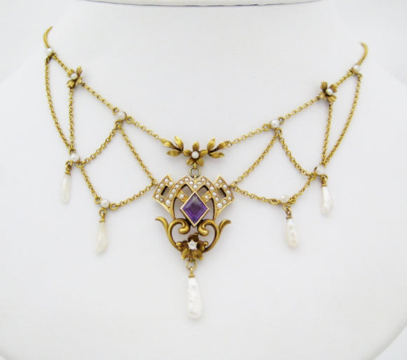 Victorian Amethyst and Pearl Swag Neckpiece