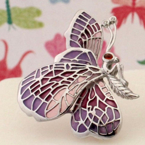 Sweet & Colorful  Butterfly Pin, Sterling and Enamel