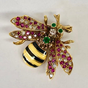 Colorful Gemstone Bee Pin