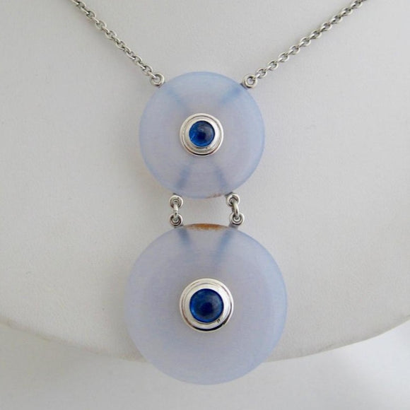 Chalcedony and Sapphire Necklace