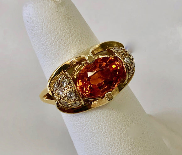 Spessartite and Diamond Ring